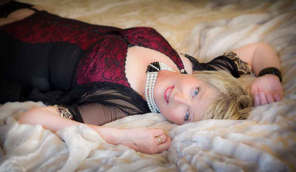 boudoir session for mature lady