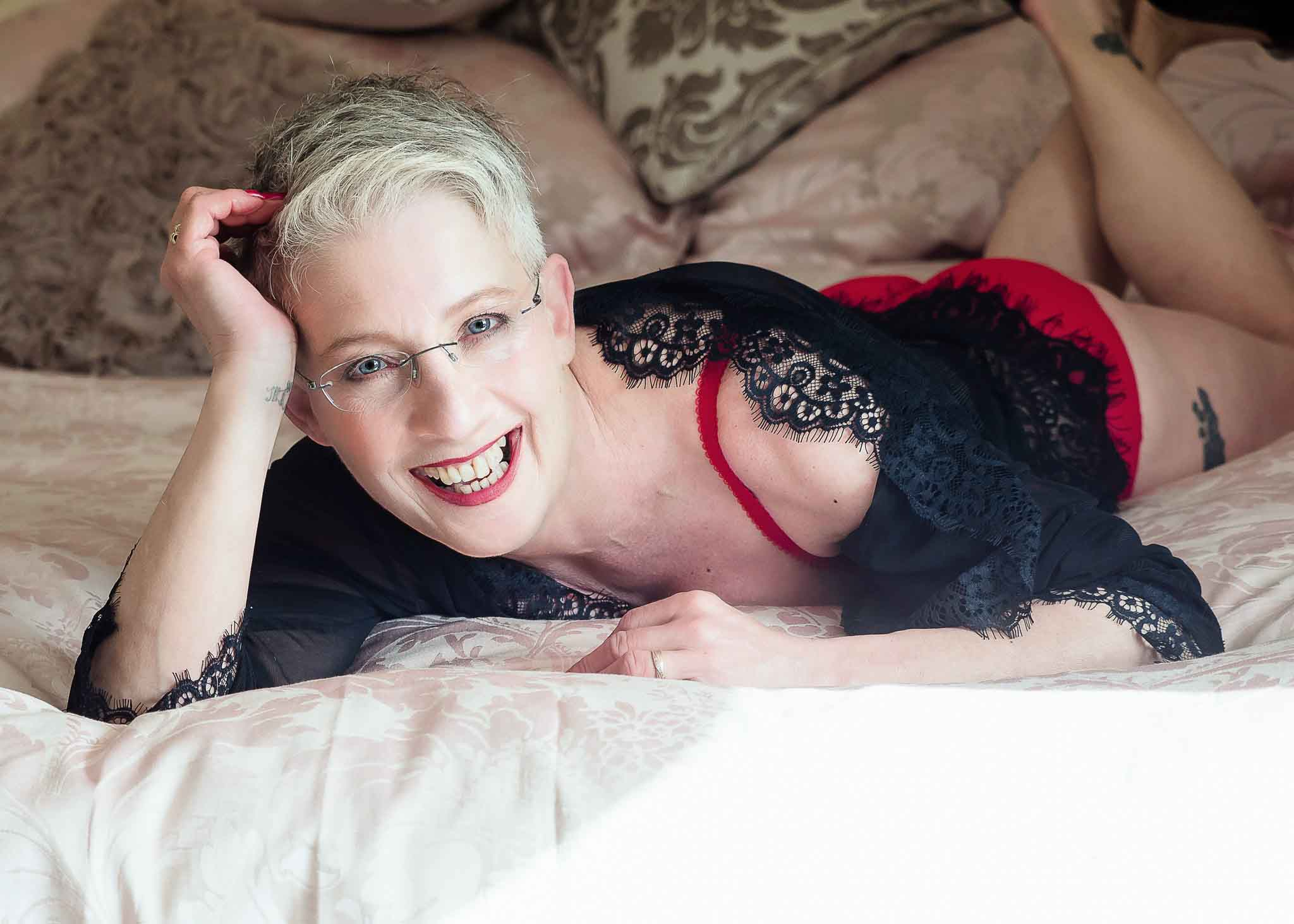 Boudoir Photography for Mature Women, Boudoir photoshoot wearing lacy top